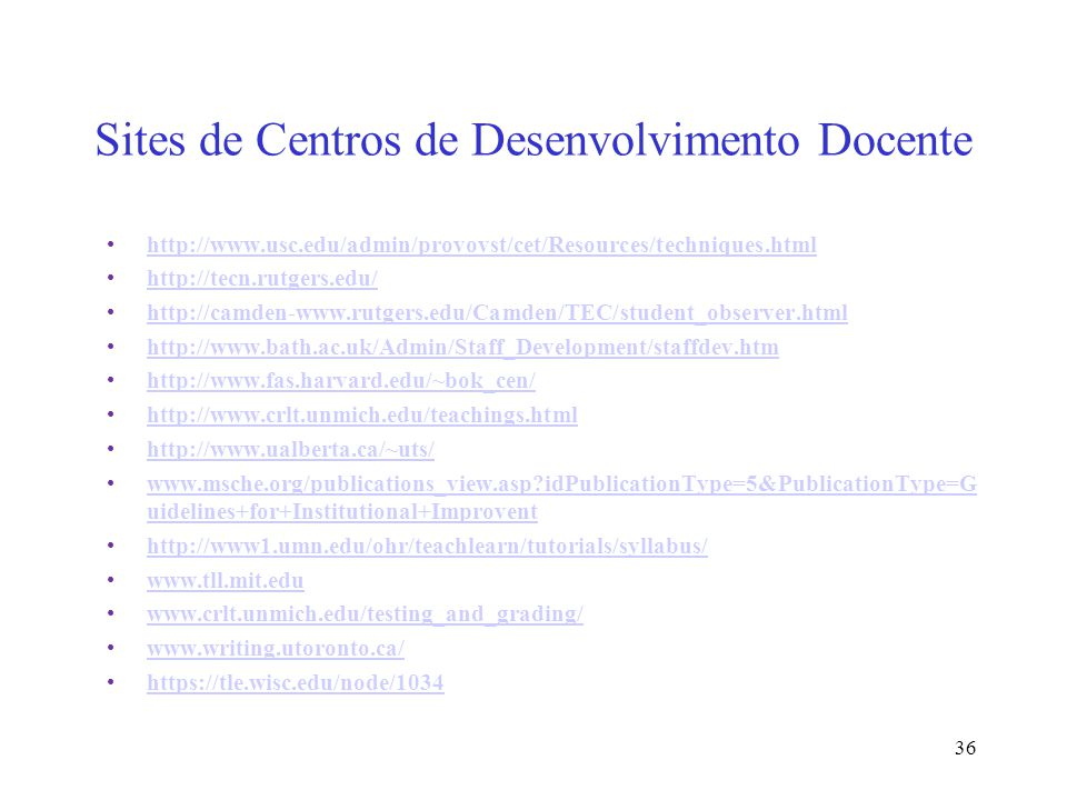 Sites de Centros de Desenvolvimento Docente