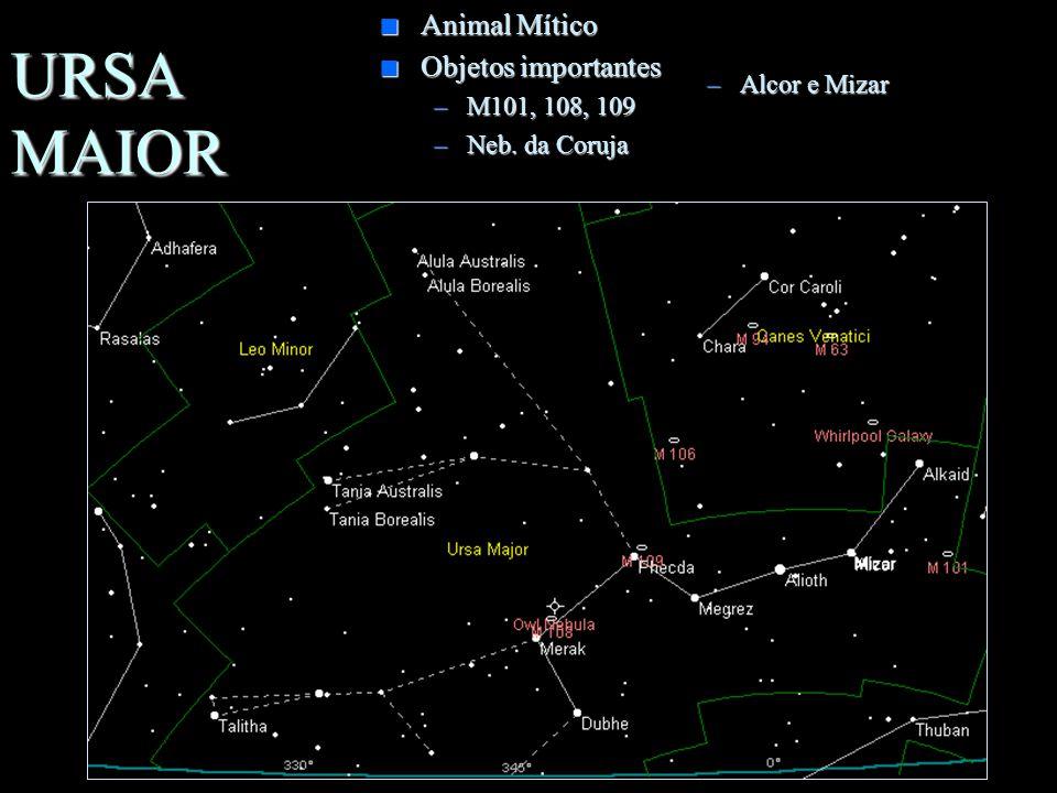 URSA MAIOR Animal Mítico Objetos importantes M101, 108, 109