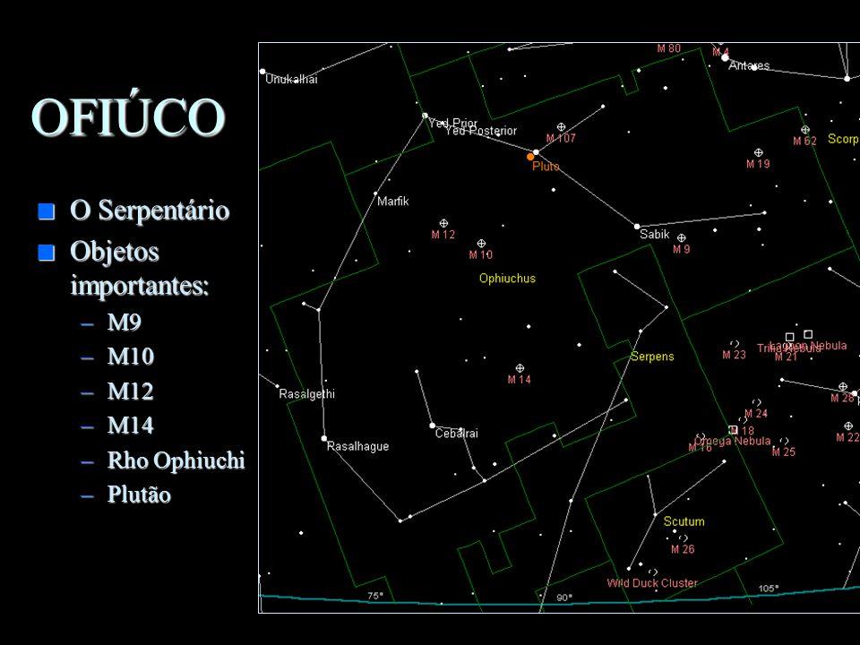 OFIÚCO O Serpentário Objetos importantes: M9 M10 M12 M14 Rho Ophiuchi