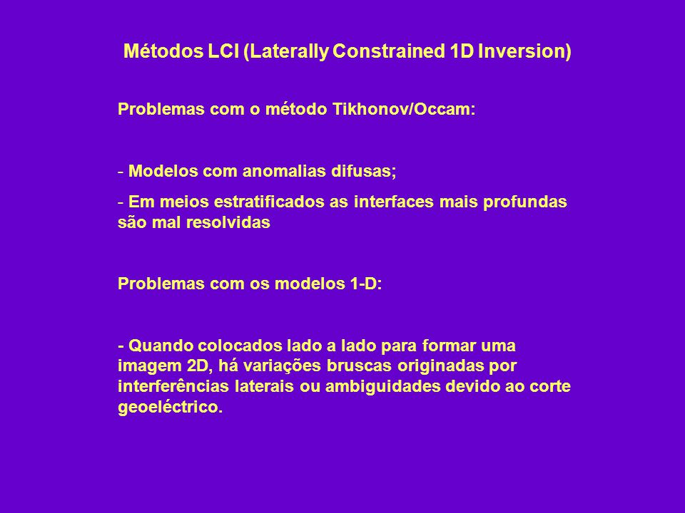 Métodos LCI (Laterally Constrained 1D Inversion)