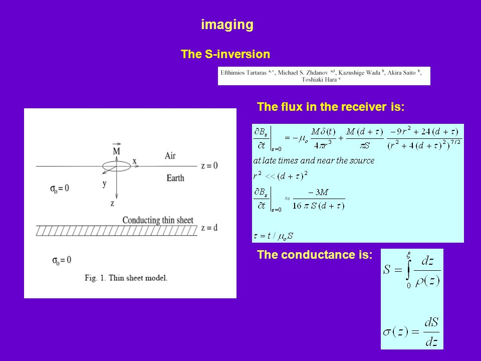 imaging The S-inversion The flux in the receiver is: