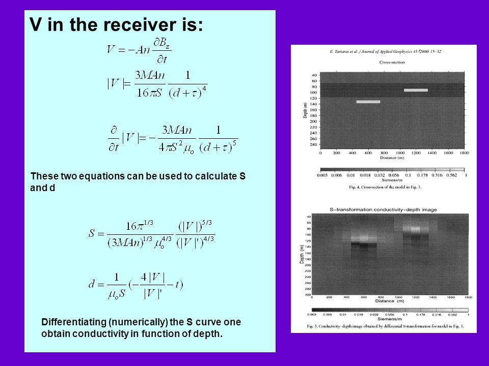 V in the receiver is: These two equations can be used to calculate S and d.