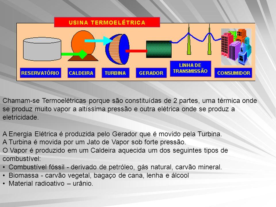 Chamam-se Termoelétricas porque são constituídas de 2 partes, uma térmica onde se produz muito vapor a altíssima pressão e outra elétrica onde se produz a eletricidade.