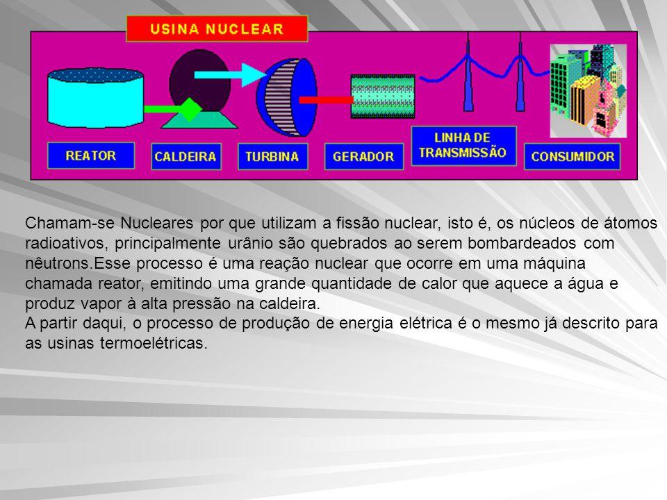 Chamam-se Nucleares por que utilizam a fissão nuclear, isto é, os núcleos de átomos radioativos, principalmente urânio são quebrados ao serem bombardeados com nêutrons.Esse processo é uma reação nuclear que ocorre em uma máquina chamada reator, emitindo uma grande quantidade de calor que aquece a água e produz vapor à alta pressão na caldeira.