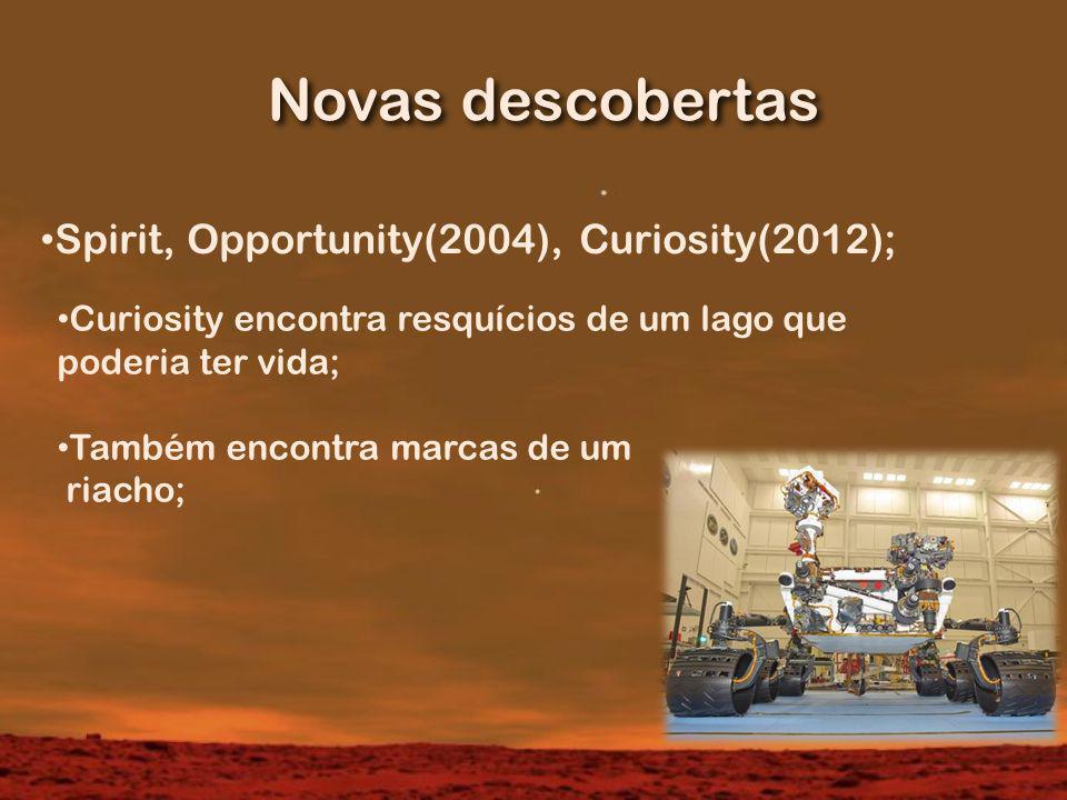 Novas descobertas Spirit, Opportunity(2004), Curiosity(2012);