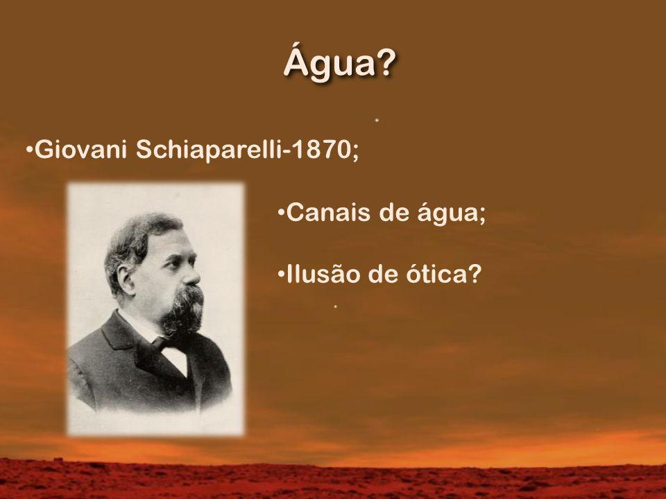Água Giovani Schiaparelli-1870; Canais de água; Ilusão de ótica