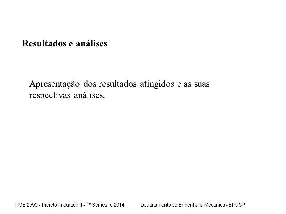 Resultados e análises Apresentação dos resultados atingidos e as suas respectivas análises.