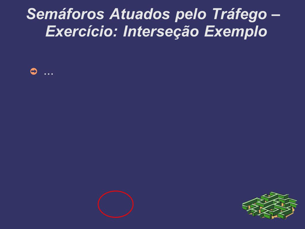 Semáforos Atuados pelo Tráfego – Exercício: Interseção Exemplo