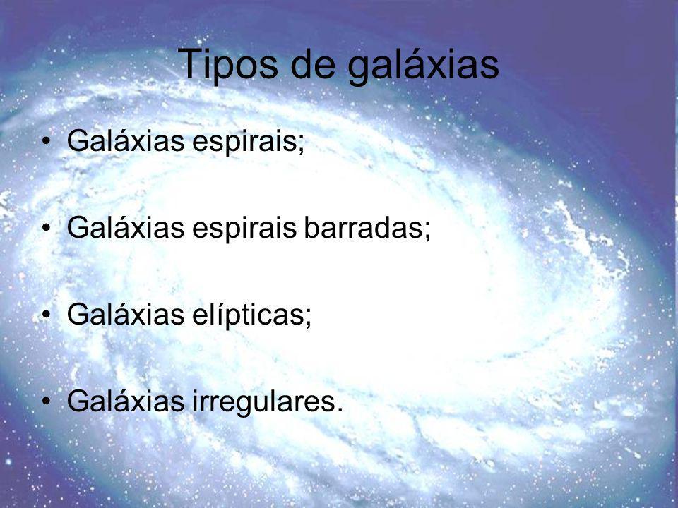 Tipos de galáxias Galáxias espirais; Galáxias espirais barradas;