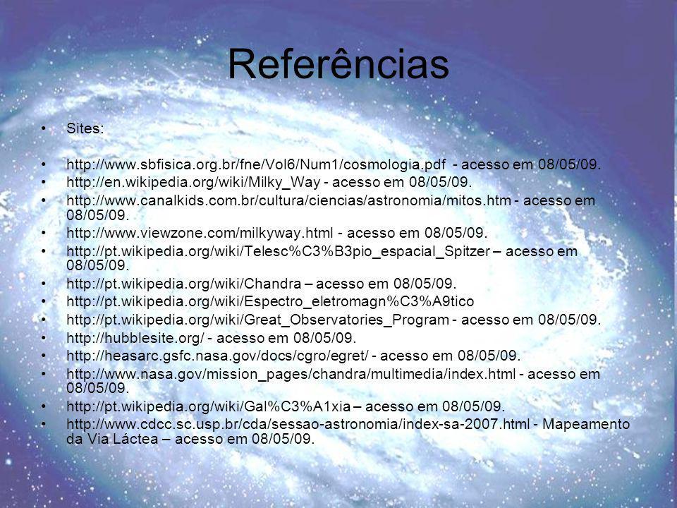 Referências Sites: http://www.sbfisica.org.br/fne/Vol6/Num1/cosmologia.pdf - acesso em 08/05/09.