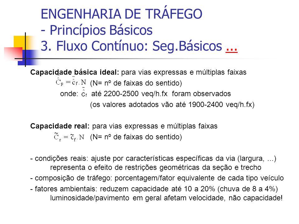 ENGENHARIA DE TRÁFEGO - Princípios Básicos 3. Fluxo Contínuo: Seg