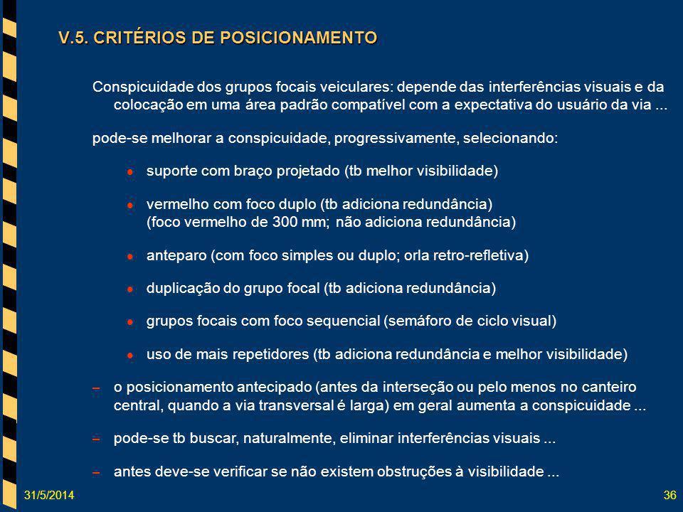 V.5. CRITÉRIOS DE POSICIONAMENTO