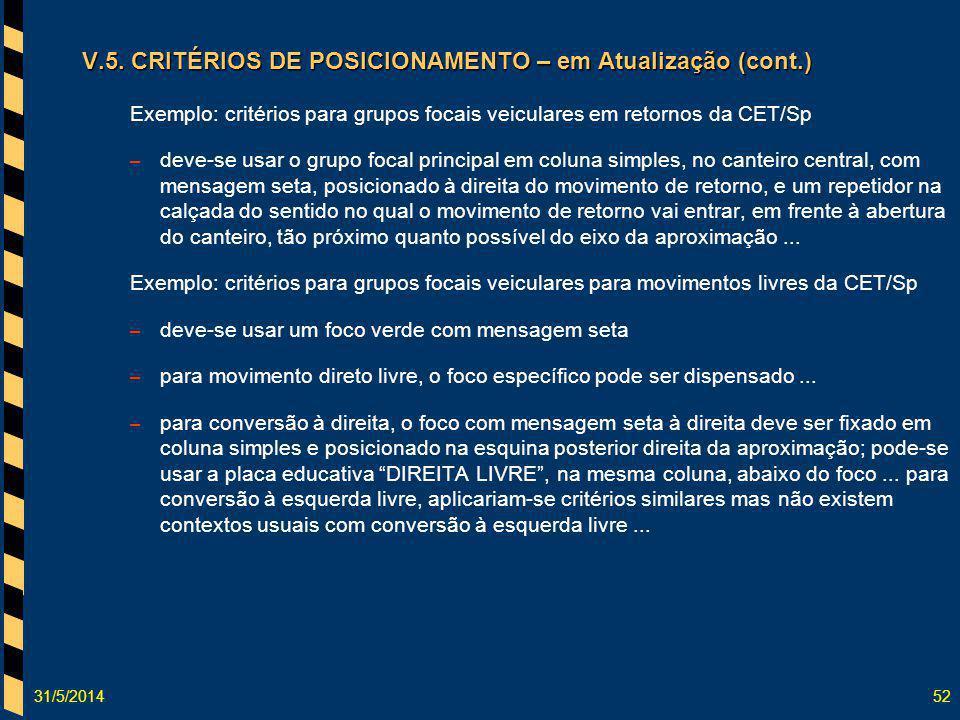 V.5. CRITÉRIOS DE POSICIONAMENTO – em Atualização (cont.)