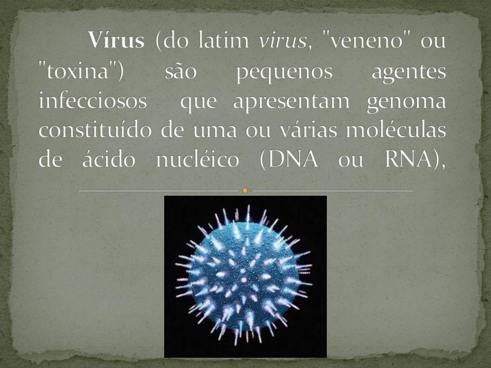 Vírus (do latim virus, veneno ou toxina ) são pequenos agentes infecciosos que apresentam genoma constituído de uma ou várias moléculas de ácido nucléico (DNA ou RNA),
