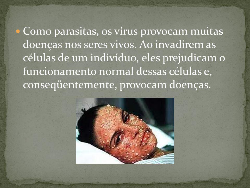 Como parasitas, os vírus provocam muitas doenças nos seres vivos