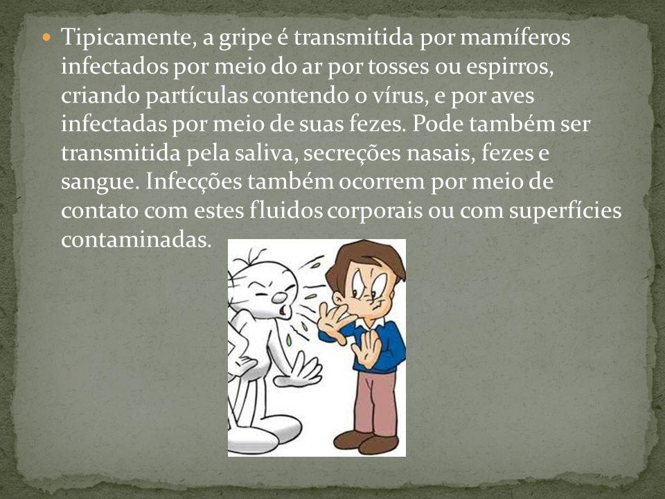 Tipicamente, a gripe é transmitida por mamíferos infectados por meio do ar por tosses ou espirros, criando partículas contendo o vírus, e por aves infectadas por meio de suas fezes.