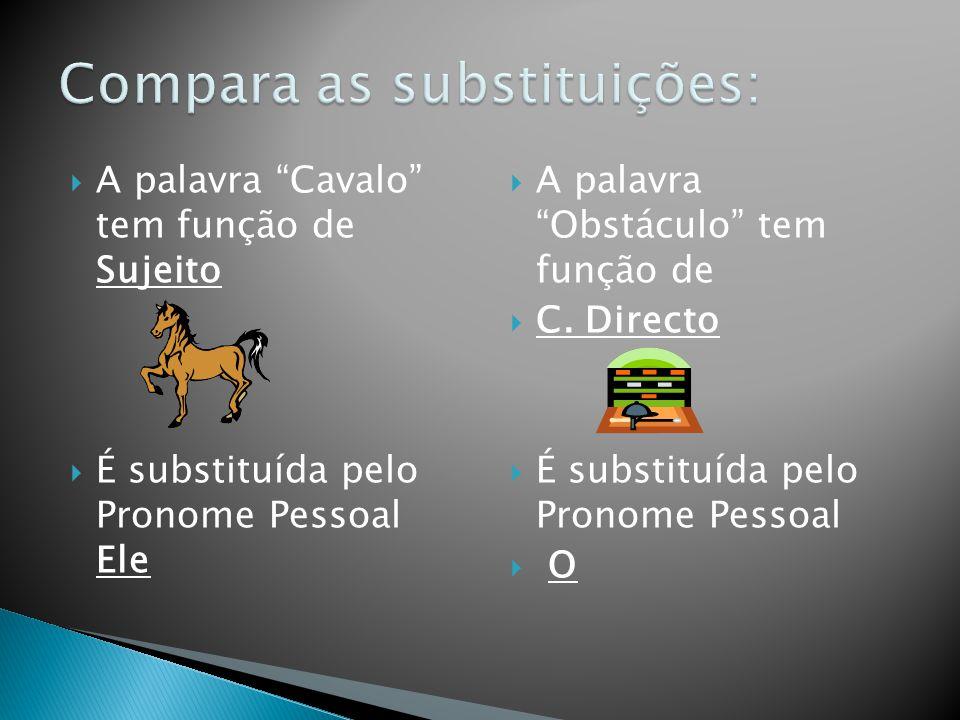 Compara as substituições: