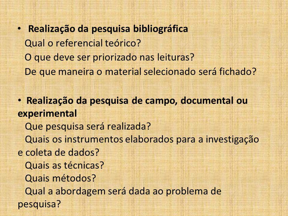 Realização da pesquisa bibliográfica