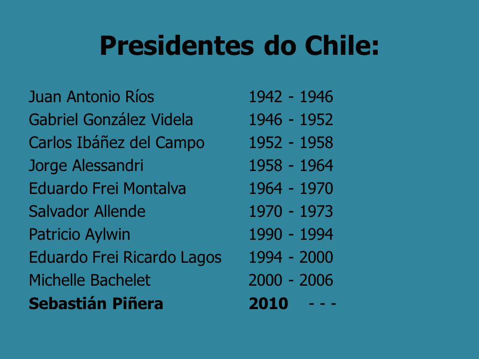 Presidentes do Chile: