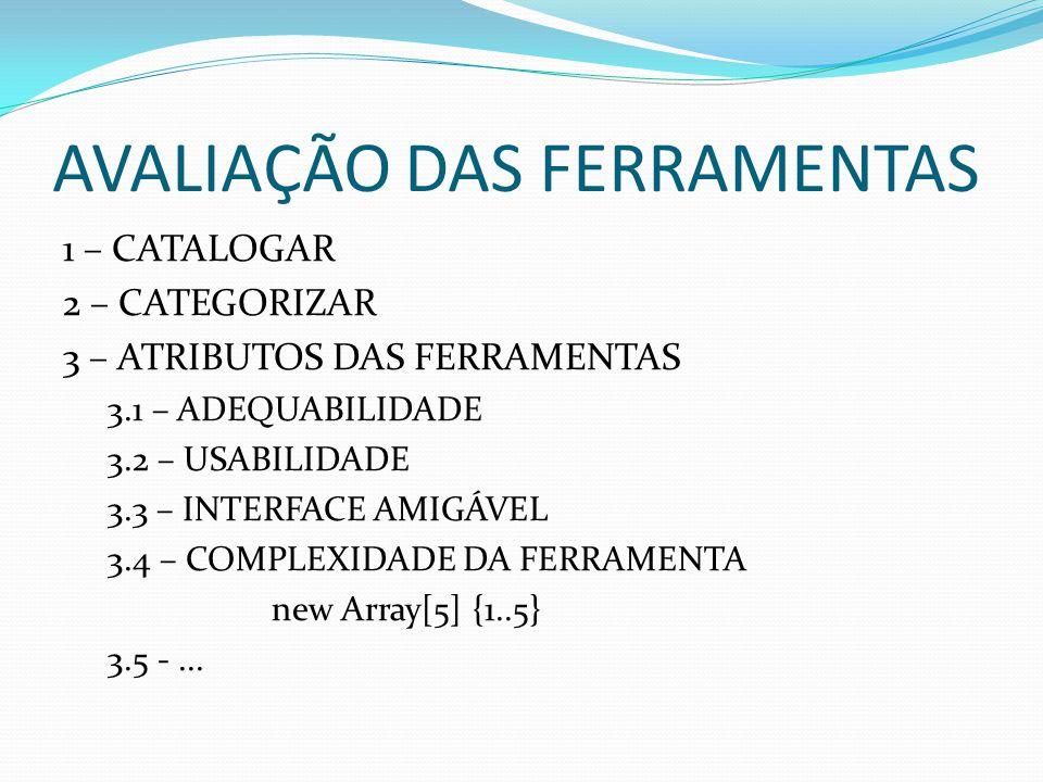 AVALIAÇÃO DAS FERRAMENTAS