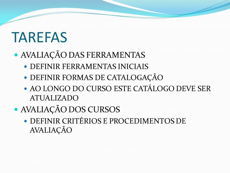 TAREFAS AVALIAÇÃO DAS FERRAMENTAS AVALIAÇÃO DOS CURSOS