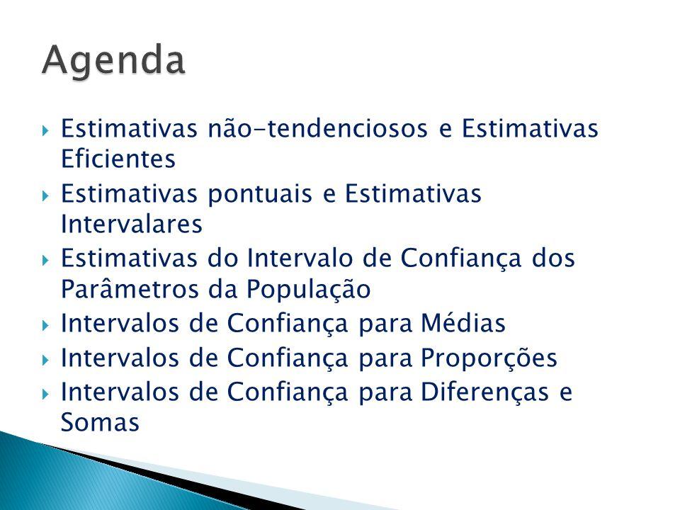 Agenda Estimativas não-tendenciosos e Estimativas Eficientes