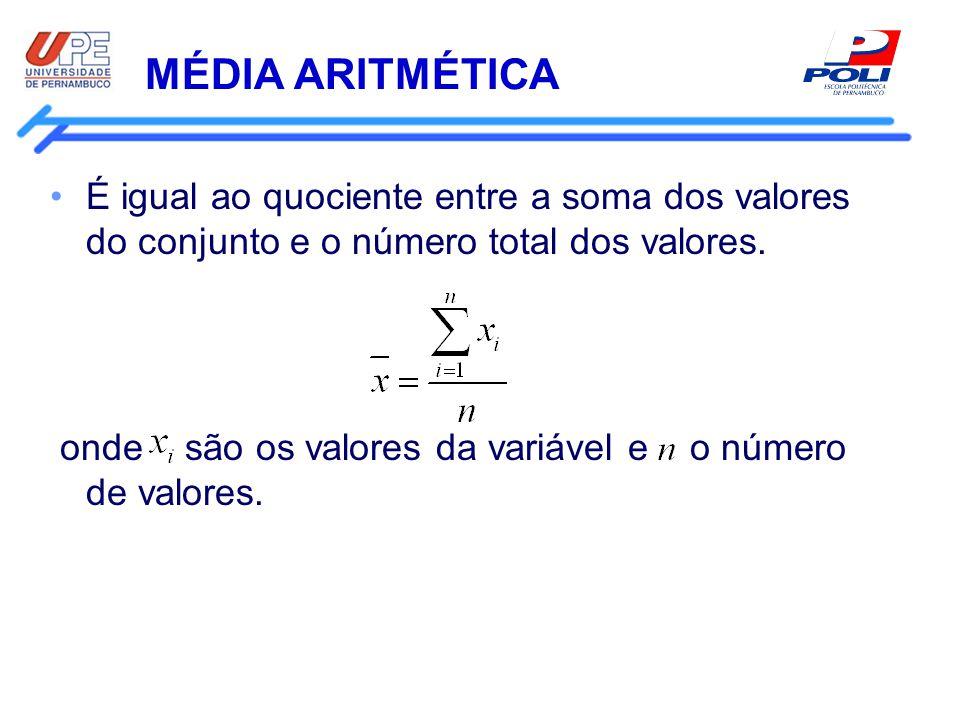 MÉDIA ARITMÉTICA É igual ao quociente entre a soma dos valores do conjunto e o número total dos valores.