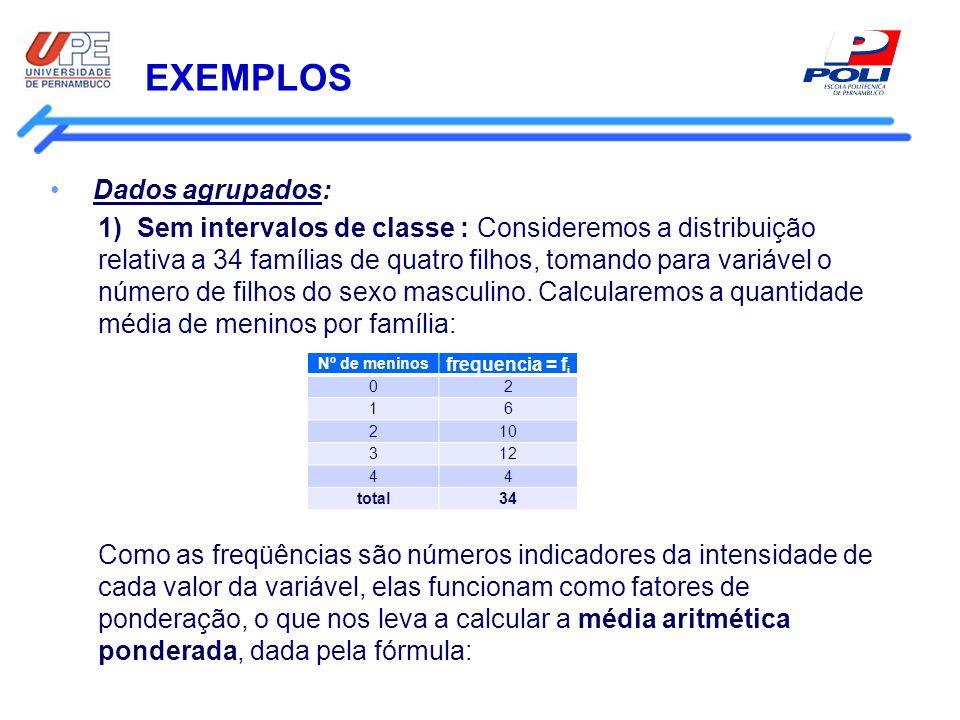 EXEMPLOS Dados agrupados: