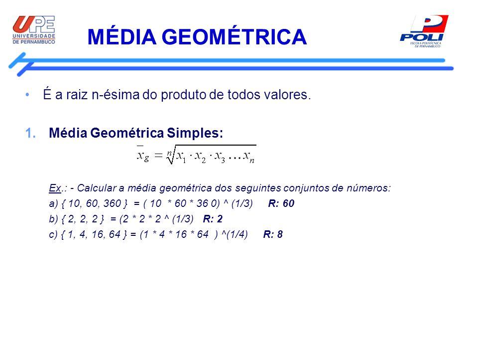 Média Geométrica É a raiz n-ésima do produto de todos valores.