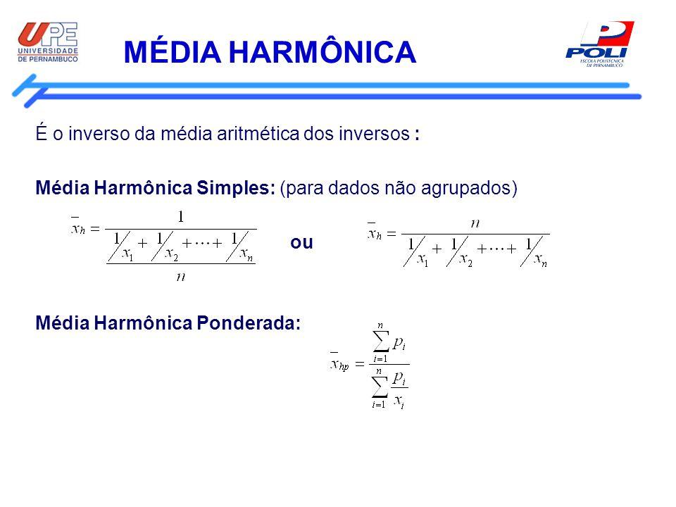 MÉDIA HARMÔNICA É o inverso da média aritmética dos inversos :