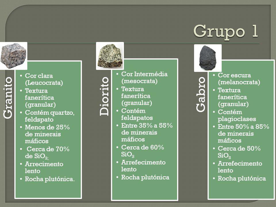 Grupo 1 Granito Cor clara (Leucocrata) Textura fanerítica (granular)