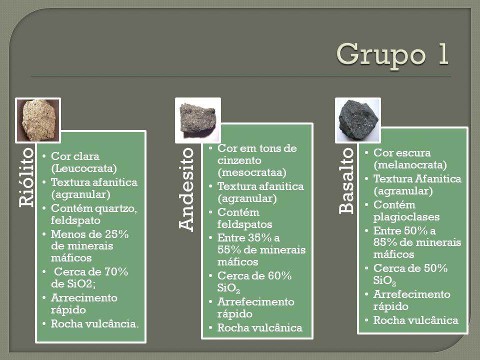 Grupo 1 Cor clara (Leucocrata) Textura afanitica (agranular)