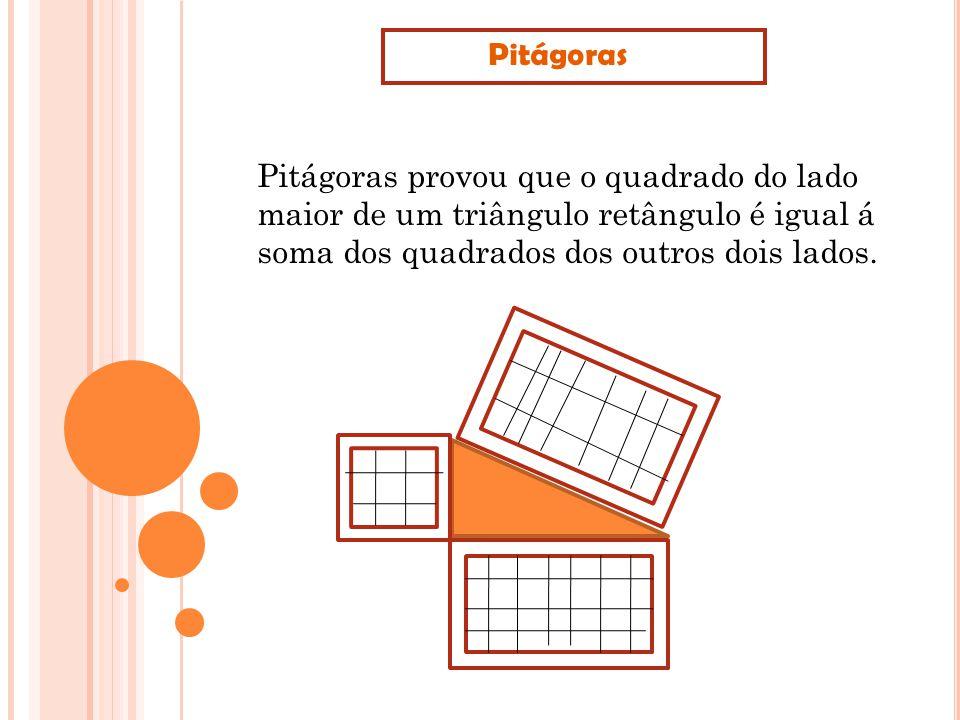 Pitágoras Pitágoras provou que o quadrado do lado maior de um triângulo retângulo é igual á soma dos quadrados dos outros dois lados.