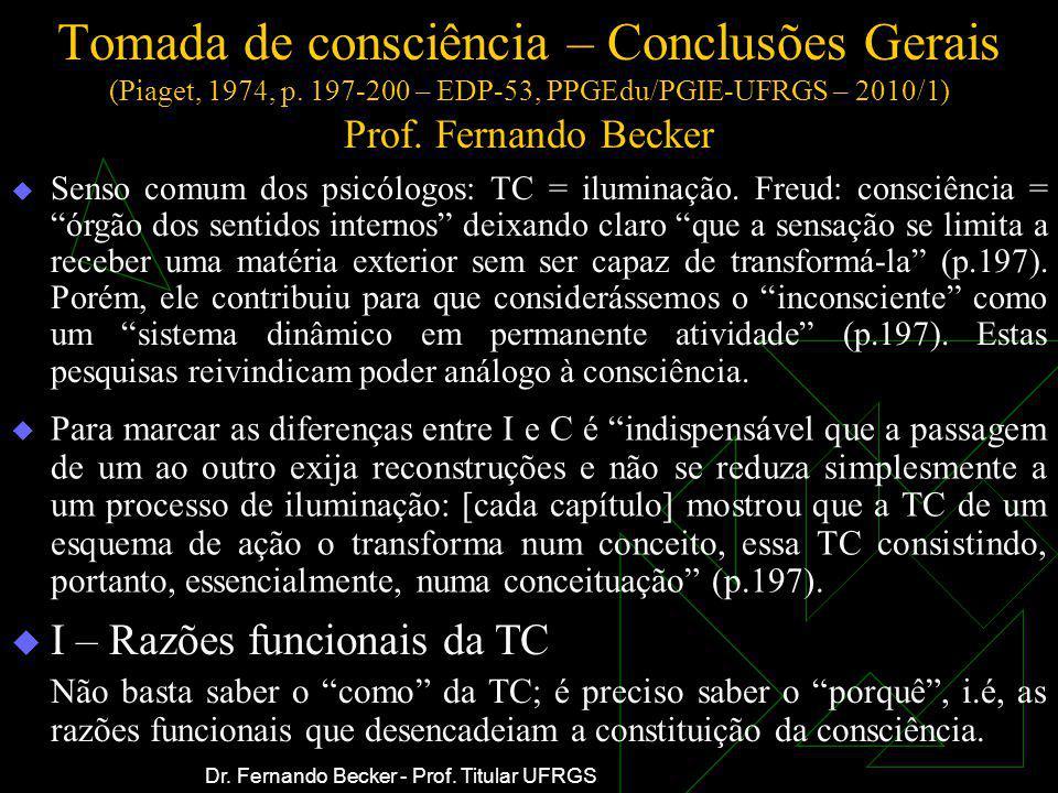 Tomada de consciência – Conclusões Gerais (Piaget, 1974, p
