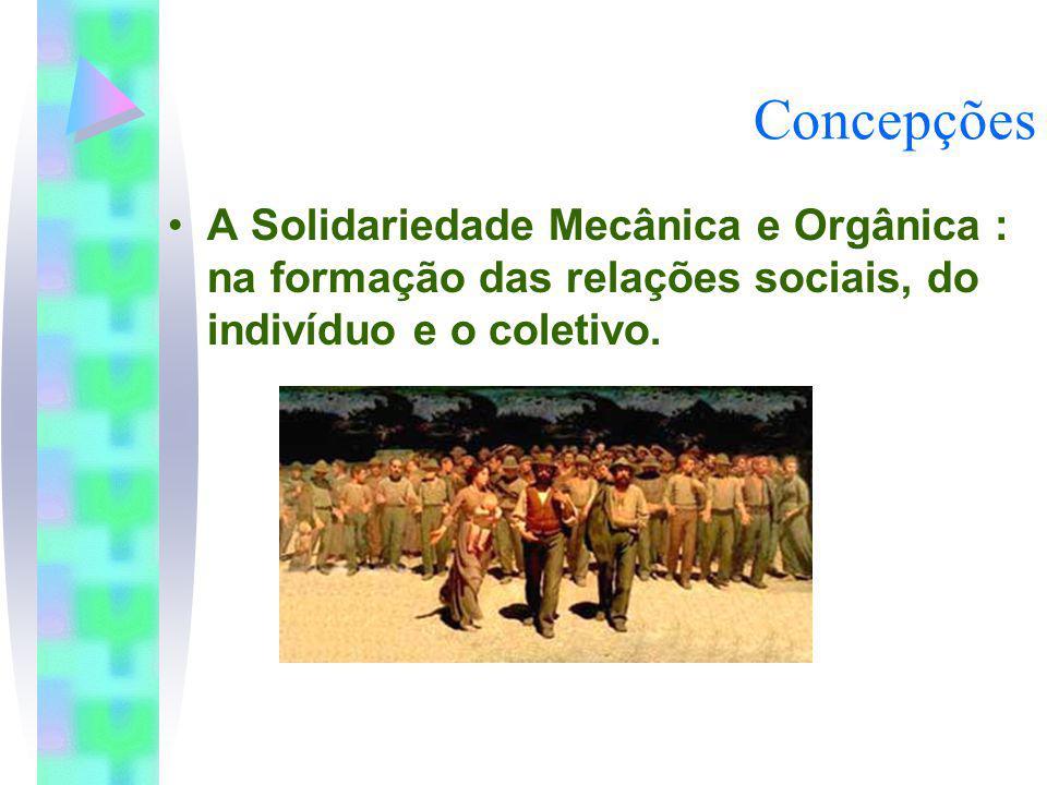 Concepções A Solidariedade Mecânica e Orgânica : na formação das relações sociais, do indivíduo e o coletivo.