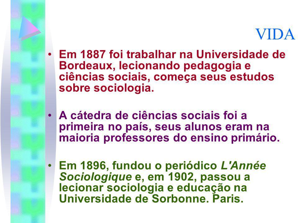 VIDA Em 1887 foi trabalhar na Universidade de Bordeaux, lecionando pedagogia e ciências sociais, começa seus estudos sobre sociologia.