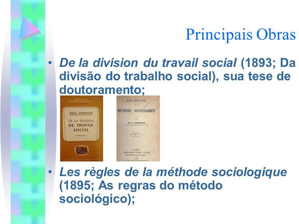 Principais Obras De la division du travail social (1893; Da divisão do trabalho social), sua tese de doutoramento;