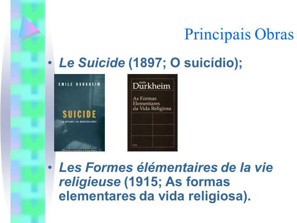 Principais Obras Le Suicide (1897; O suicídio);