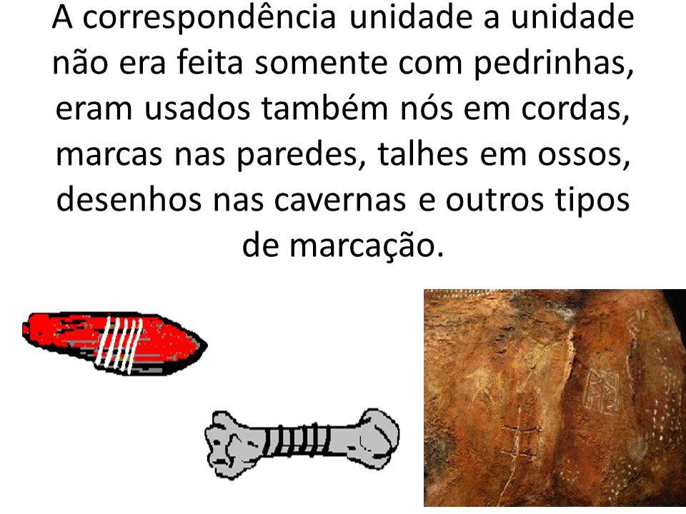 A correspondência unidade a unidade não era feita somente com pedrinhas, eram usados também nós em cordas, marcas nas paredes, talhes em ossos, desenhos nas cavernas e outros tipos de marcação.