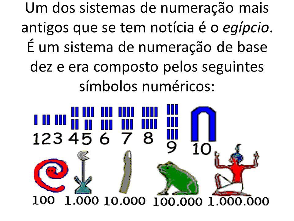 Um dos sistemas de numeração mais antigos que se tem notícia é o egípcio.