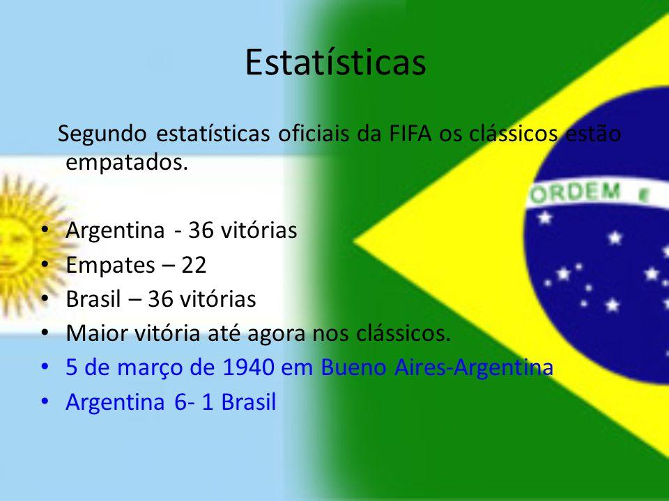 Estatísticas Segundo estatísticas oficiais da FIFA os clássicos estão empatados. Argentina - 36 vitórias.