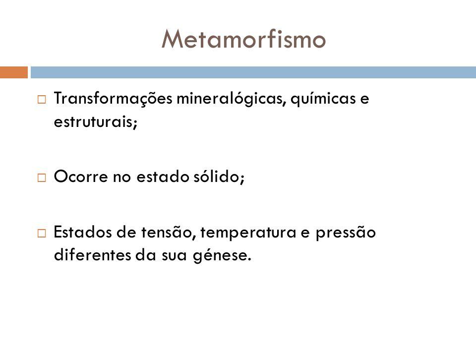 Metamorfismo Transformações mineralógicas, químicas e estruturais;