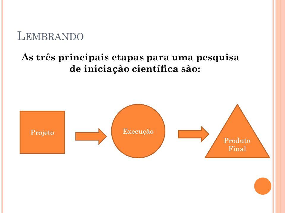 Lembrando As três principais etapas para uma pesquisa de iniciação científica são: Execução. Produto.