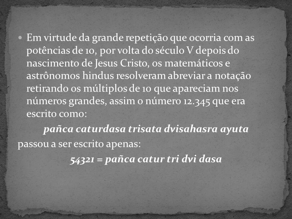 pañca caturdasa trisata dvisahasra ayuta passou a ser escrito apenas: