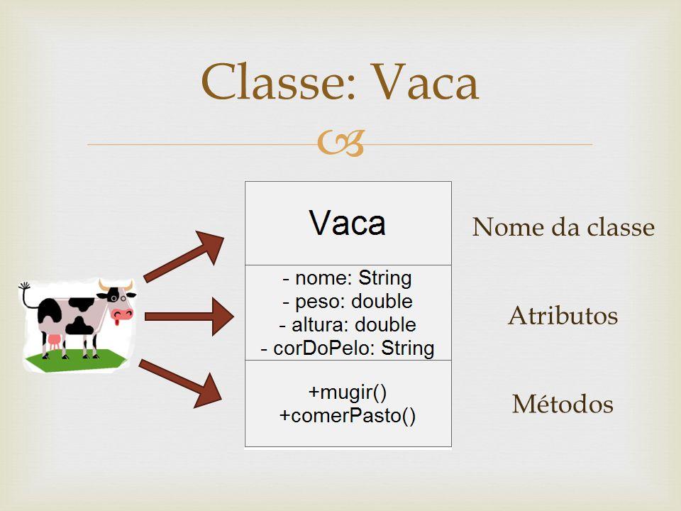 Classe: Vaca Nome da classe Atributos Métodos