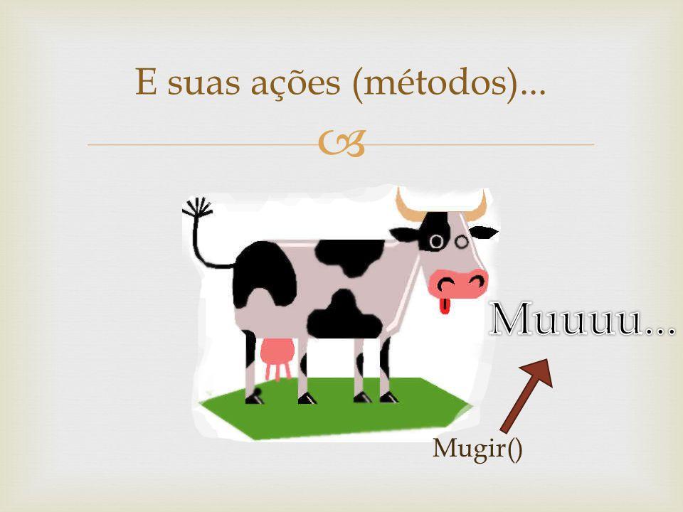 E suas ações (métodos)... Muuuu... Mugir()