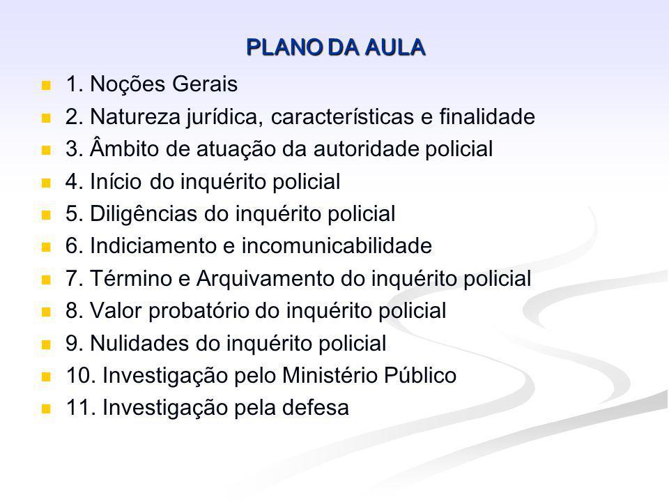 PLANO DA AULA 1. Noções Gerais. 2. Natureza jurídica, características e finalidade. 3. Âmbito de atuação da autoridade policial.