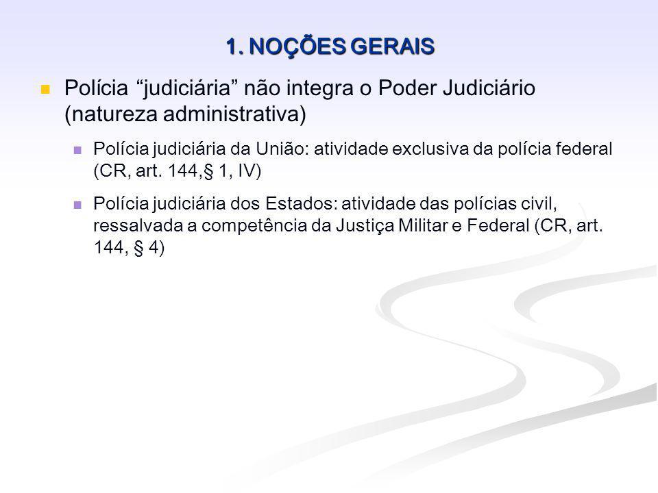 1. NOÇÕES GERAIS Polícia judiciária não integra o Poder Judiciário (natureza administrativa)