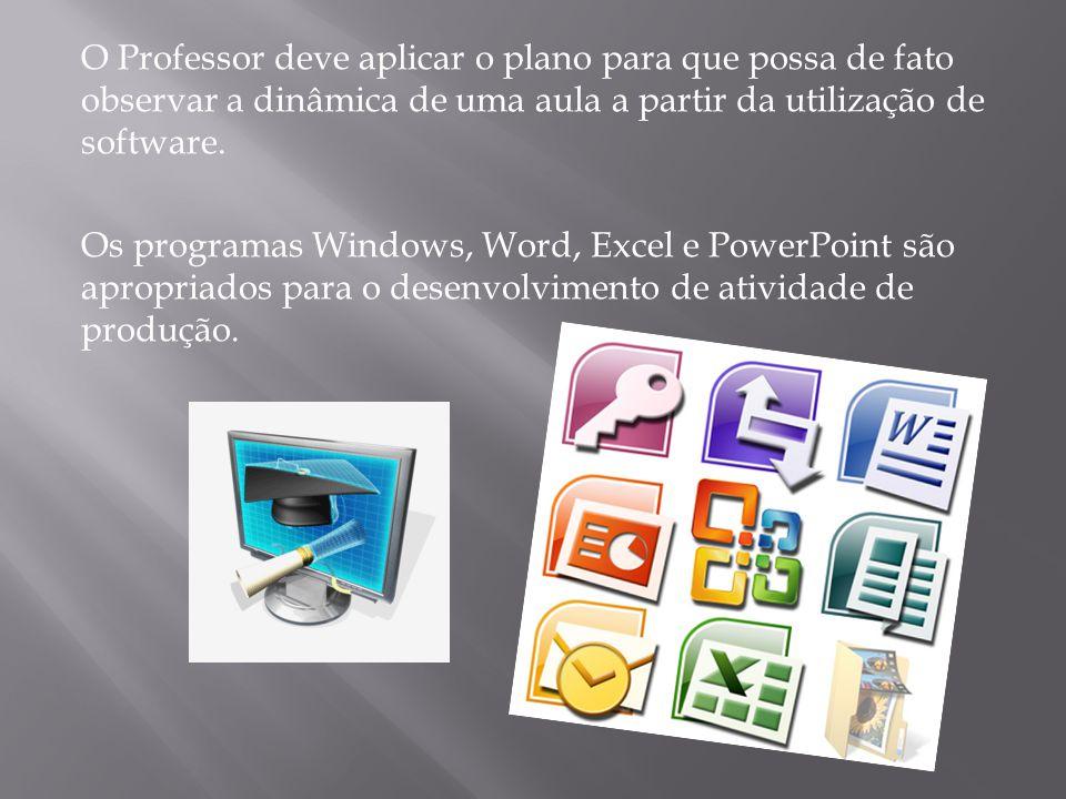 O Professor deve aplicar o plano para que possa de fato observar a dinâmica de uma aula a partir da utilização de software.