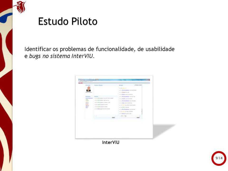 Estudo Piloto Identificar os problemas de funcionalidade, de usabilidade. e bugs no sistema InterVIU.
